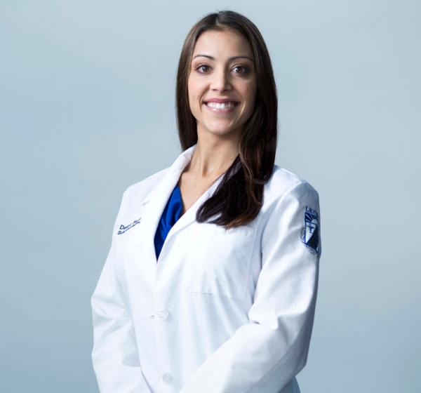 LECOM Women's School of Pharmacy White Coat with Name, School, and Shield